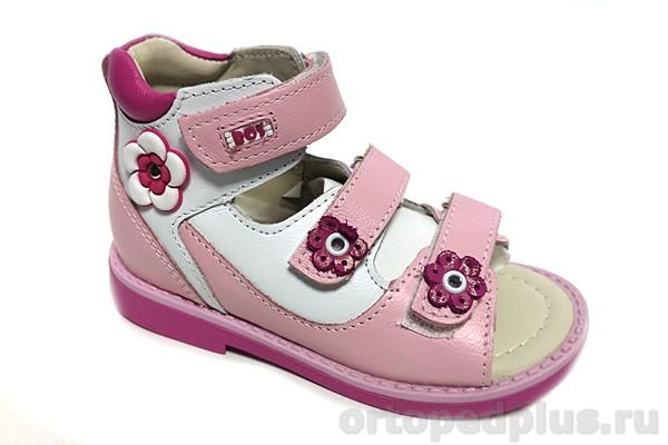 Ортопедическая обувь Сандалии 163-412 белый/розовый