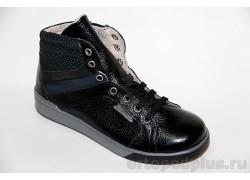 Ботинки 23119 гладкий черный/велюр черный