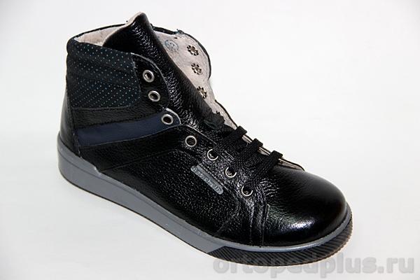Ортопедические ботинки 23119 гладкий черный/велюр черный
