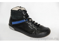 Ботинки 23119 гладкий черный/велюр черный/синий
