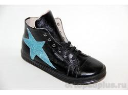 Ботинки 23110 гладкий черный/блестки бирюзовые