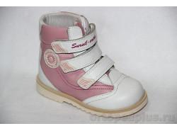 Ботинки 23-207 розовый/белый