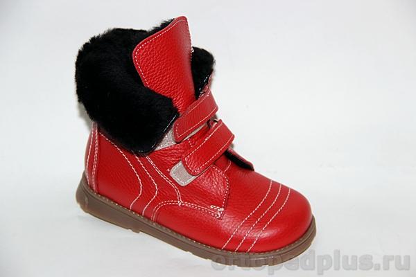 Ортопедическая обувь Ботинки Герда красный мех
