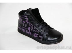 Ботинки 23222 черный/шелкография
