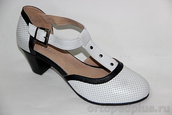 Комфортная обувь Туфли женские 18-070/3 бел-черн