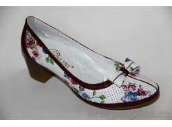 Туфли летние R2866 белый цветы/бордо