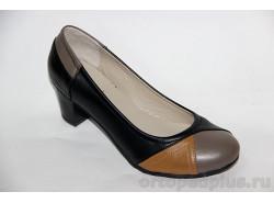 Туфли женские 38-063/3 черн-т.беж-кор