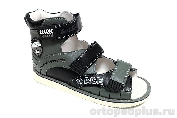 Ортопедическая обувь Сандалии 15-322s серый/черный