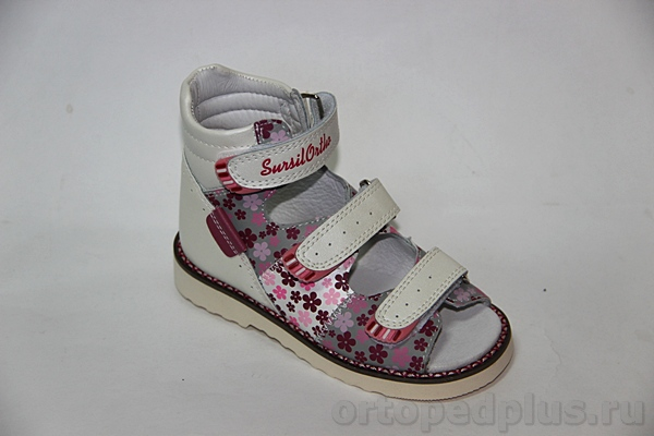Ортопедическая обувь Сандалии 15-241S бел/сер/роз