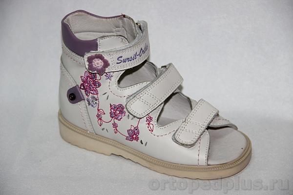 Ортопедическая обувь Сандалии 13-108 белый/сиреневый