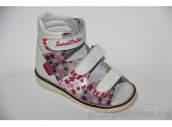 Сандалии 15-241М бел/сер/роз