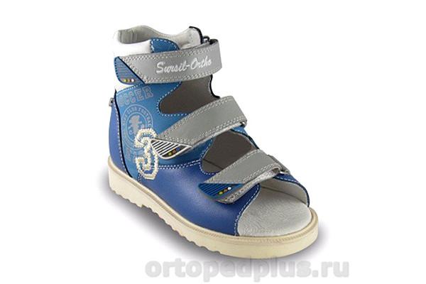 Ортопедическая обувь Сандалии 15-252 голубой/бел/серый