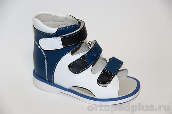 Ортопедические сандалии ОРТ-80А-004F 13НТ синий/бел/т.син