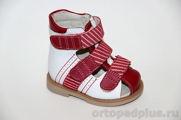 Ортопедические сандалии ОРТ-80А-006H 11НТ бело/т.красный